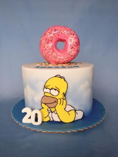 Homer Simpson cake by Layla A Creative Birthday Cakes, Funny Birthday Cakes, Pretty Birthday Cakes, Funny Cake, Creative Cakes, Bolo Simpsons, Simpsons Party, Fondant Cakes, Cupcake Cakes