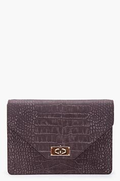 Givenchy Brown Suede Embossed Croc Bag for women | SSENSE