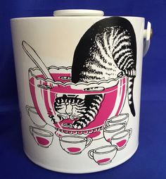 Vintage B Kliban Cat Ice Bucket Cat in Punch Bowl Made in USA Sigma