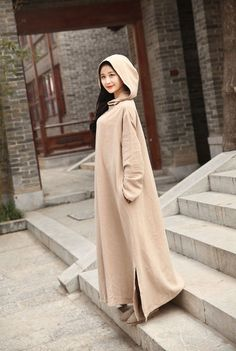 MMD NEU HOODIE LAGENLOOK BAGGY LEINEN KLEID mit Kapuze Long Tunika Kapuzenkleid in Kleidung & Accessoires, Damenmode, Kleider | eBay
