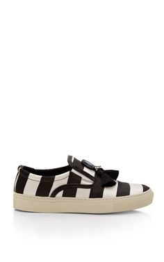 Shop Achilles Satin Striped Sneakers with Tassels by Mother of Pearl Now Available on Moda Operandi