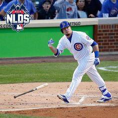 """Kyle Schwarber discards his lumber."" Game 3 NLDS Cubs vs Cards"