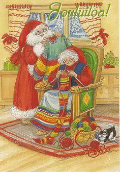 a postcard from Finland, illustrated by Marja-Liisa Pitkäranta Gnomes, Finland, Bohemian Rug, Christmas Cards, Santa, Magic, Knitting, Illustration, Home Decor