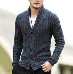 Details: • Chunky ribbed • Knitted • Shawl collar • Slim fit Fabric & Care: • Cotton, Polyester, Spandex • Machine wash • Imported