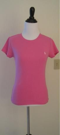 Women's Ralph Lauren pink crew neck polo T-shirt (Sz S)