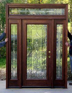 48 new ideas metal front door makeover house Exterior Doors With Sidelights, Exterior Entry Doors, Entrance Doors, Doorway, Cottage Style Front Doors, House Front Door, Double Front Doors, Wood Front Doors, Front Entry