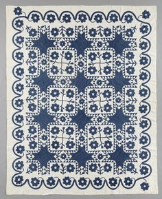 Indigo Unknown Floral block & Feathered Star  1850-1875  New England Quilt Museum; wow!!!!