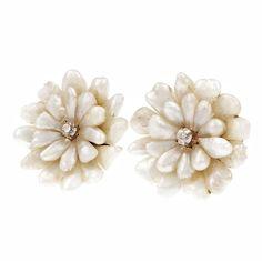 Natural Freshwater Pearl Diamond Gold Button Earrings   See more rare vintage Stud Earrings at https://www.1stdibs.com/jewelry/earrings/stud-earrings