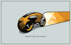 Fantasy Rides: TRON Light Cycle Illustration - Retro-Futurist Poster Art.