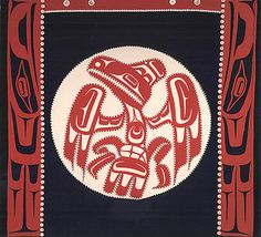 A button blanket by Dorothy Grant, Kaigani Haida, depicting Raven bringing ...