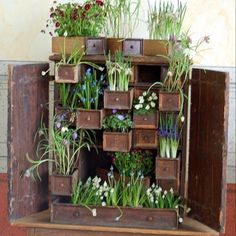 Great use for re-purposing an old chest of small drawers missing a few