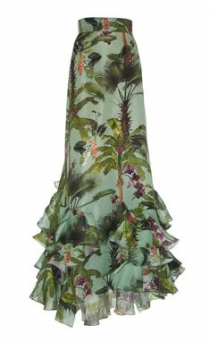 Johanna Ortiz Bahia Malaga Silk Organza Skirt In Print Casual Dresses, Fashion Dresses, Jeans Denim, Long Maxi Skirts, Silk Organza, Silk Dress, Silk Skirt, Dress First, Skirt Outfits