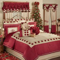 14 amazing christmas bedroom decor ideas for wonderful bedroom 4 Royal Bedroom, Bedroom Red, Bedroom Decor, Bedroom Themes, Red Bedroom Design, Simple Bedroom Design, Floral Comforter, Comforter Sets, Brighten Room