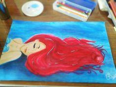 Gorgeous little mermaid painting, I want one like this someday! Toile Disney, Disney Art, Disney Canvas, Little Mermaid Painting, The Little Mermaid, Disney Drawings, Art Drawings, Graffiti, Disney Paintings