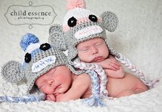 Newborn Twin Boy Girl Sock Monkey Hats by TinyTiptoesBoutique, $60.00