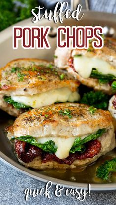 These stuffed pork chops are boneless chops filled with spinach, sun dried tomatoes and mozzarella cheese, then seared to golden brown perfection. Pork Chop Recipes, Meat Recipes, Healthy Recipes, Healthy Meals, Recipies, Italian Pork Chops, Healthy Pork Chops, Boneless Pork Chops, Pork Ribs