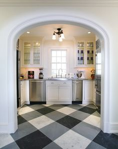 Kitchen with black, white & grey gingham/check stone tile floor -- Tim Kriebel, http://kriebeldesign.com/completed-projects.html