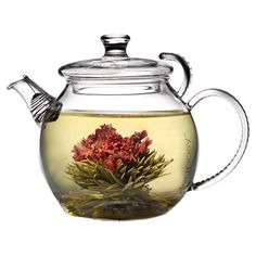 Red Song Blossoming Teas.  Tea blossoms do look pretty.  Put this on my list, clear glass tea pot