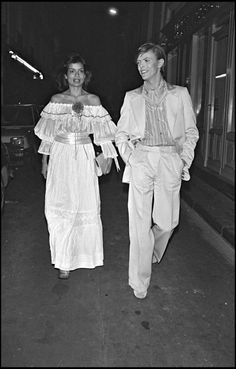 David Bowie and Bianca Jagger, Mick Jagger's ex-wife.