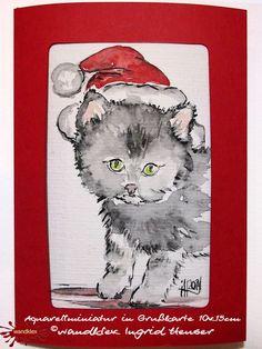Weihnachtskarten - Einzelstück handgemalt Weihnachtskarte Katze Grußkarte Kitten in Weihnachtsstimmung - ein Designerstück von wandklex bei DaWandaPostkarte mal anders;  handgemalte Karten - geht übrigens auch nach Ihrem Foto :-) Alles zu haben im kleinen Klexshop auf DaWanda unter http://de.dawanda.com/shop/wandklex (einzeln handgemalte Karten, ;-) )  Jede Karte ein Unikat, alle Tierrassen und auch Personen möglich, auch Kleinserien.