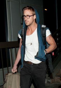 Ryan Gosling Rocks Sleeveless Hoodie at LAX