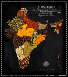 Beautiful maps of countries made food 03/16/14. Henry Hargreaves worked with the New York stylist Caitlin Levin to create great food all made maps.. Typography, done by graphic designer Sarit Melmed, giving maps a classic vintage look.