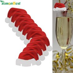 10 PCS Table DIY Cards Christmas Santa Hat Wine Glass Champagne Decora                      – Party supplies kit
