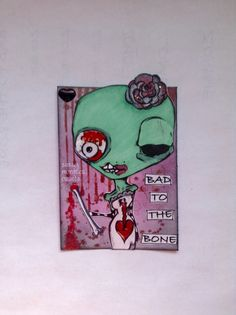 Sassy Monster Crafts: Zombie ATC using a digital stamp from The Octopode Factory