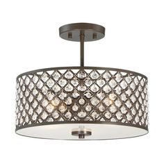Quoizel Juliana 14.5-in W Bronze Etched Glass Semi-Flush Mount Light