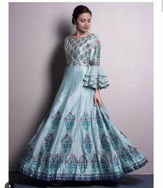 Beautiful pure silk digital printed Gown with superb embellishments and modern sleeves detailing. Indian Attire, Indian Ethnic Wear, Indian Outfits, Indian Girls, Indian Gowns Dresses, African Fashion Dresses, Anarkali Dress, Lehenga, Saree