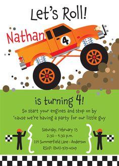 Monster Truck Birthday Party Invitation for kids