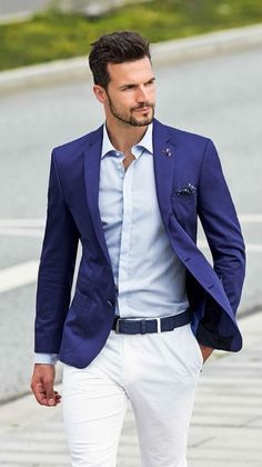 Blue and white suit