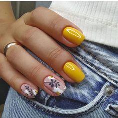 Classy Acrylic Nails, Fall Acrylic Nails, Classy Nails, Simple Nails, Acrylic Gel, Pink Nail Art, Yellow Nails, Pink Nails, Toe Nails