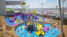 Royal Caribbean's Harmony of the Seas will be hitting the water in June! Can't wait to see its water park: Splashaway Bay. Royal Caribbean Ships, Royal Caribbean Cruise, Enchantment Of The Seas, Majesty Of The Sea, Liberty Of The Seas, Navigator Of The Seas, Hawaiian Cruises, Singles Cruise, Best Cruise Ships