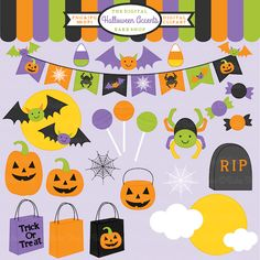 Halloween Accents Clipart - This set includes 22 clipart graphics for invitations, newsletters, crafts, card making and more.