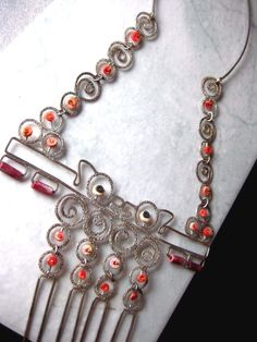 Wow - check out this unique and rare musuem quality artisan necklace with pre columbian beads... Pre Columbian Beads on Sterling Silver Necklace Hand Crafted Artisan Jewelry #artisan #necklace #precolumbian #ancient