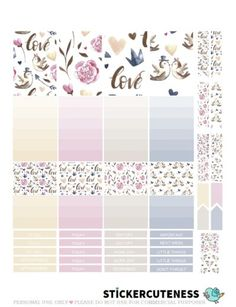 Free Printable Vintage Love Planner Stickers from StickerCuteness