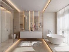 Modello di bagno con doppio lavabo di design n.34
