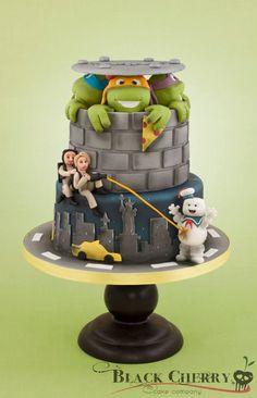 Black Cherry Cake Company  Ghostbusters/TMNT Wedding Cake