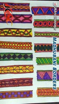 Madhubani Art, Madhubani Painting, Indian Folk Art, Painted Chairs, Boarders, Indian Paintings, Bulletin Board, Embroidery Patterns, Artworks