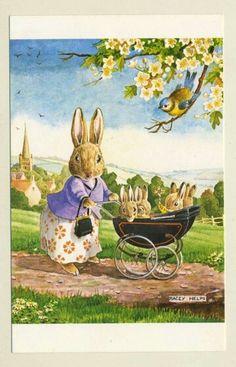 "Illustration by Racey Helps ""The Proud Mother"" Susan Wheeler, Beatrix Potter, Images Vintage, Vintage Postcards, Vintage Art, Bunny Art, Cute Bunny, Lapin Art, Rabbit Art"