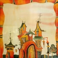 """Платок батик """"А на крышах живет сказка"""" - крыши,крыша,домик,дом,дома"""