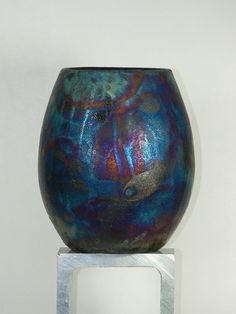 Blue Raku vase. Russ Stillman at etsy