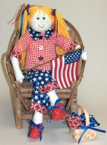 Annie is all dressed up for the 4th of July celebration but with the versatility of this project you can change her clothes to match any occasion.