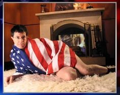 Or when he saucily wrapped himself up in stars and stripes. | 22 Times Stephen Colbert Was The Perfect Man