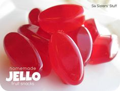 Homemade Jello Fruit Snacks Recipe. I think we ended up using 2/3 cup water to get the consistency we wanted but super easy, quick and cheap with lots of variety.