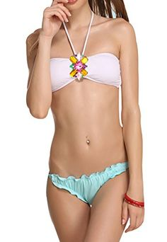 Ubasics Womens Summer Sexy Studded 2 Piece Halter Bandeau Bikini Established White S * Click image to review more details.