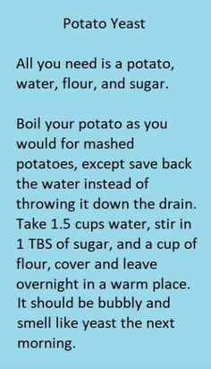 Potato Yeast Starter for Baking Bread - Baking Recipes Baking Tips, Bread Baking, Baking Recipes, Baking Secrets, Baking Substitutions, Artisan Bread Recipes, Baking Hacks, Kids Baking, Bread Food