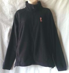 Columbia Black Fleece Zip Up Jacket Breast Cancer Pink Ribbon Womens Size Large…