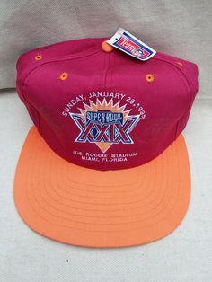 26c4202dc1f NWT Super Bowl Hat XXIX Joe Robbie Stadium 1995 Original Hologram Sticker  Vintage Baseball Cap Ball Cap Miami